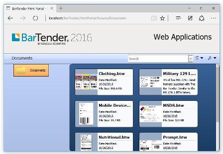 BarTender 2016 web App